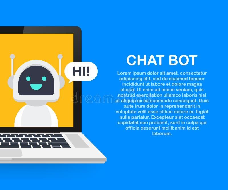 Gadki larwa Używać laptop, robot Wirtualną pomoc strona internetowa Lub wiszących ozdób zastosowania, Online poparcie larwa royalty ilustracja