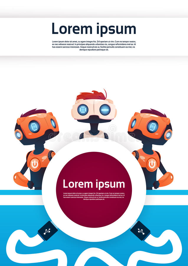 Gadki larwy Bezpłatnego robota Wirtualna pomoc strony internetowej Lub wiszącej ozdoby zastosowania, Sztucznej inteligenci pojęci ilustracji
