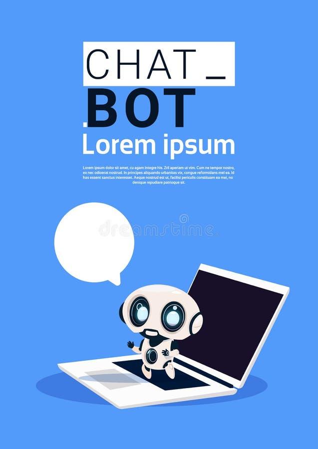 Gadki larwy robot Używać laptopu, chwyta mowy bąbla sztandar Z I, kopii przestrzenią, trajkotaniem Lub Chatterbot poparciem ilustracji