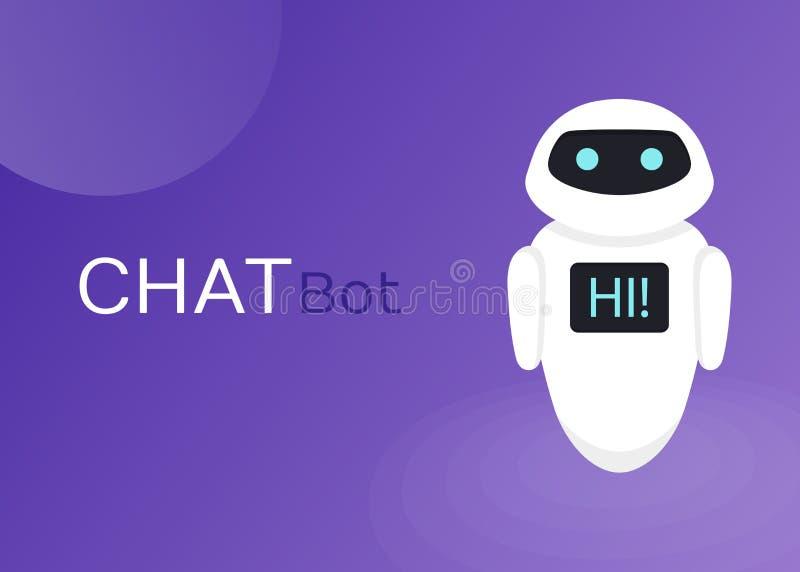 Gadki larwy robota Wirtualna pomoc strony internetowej Lub wiszącej ozdoby zastosowania, Sztucznej inteligenci pojęcia Płaska Wek royalty ilustracja