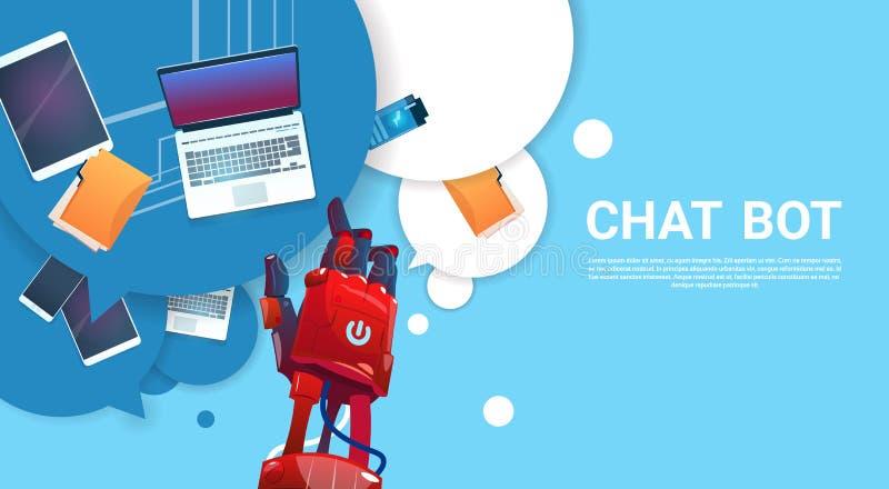 Gadki larwy robota Wirtualna pomoc strony internetowej Lub wiszącej ozdoby zastosowania, Sztucznej inteligenci pojęcie ilustracji