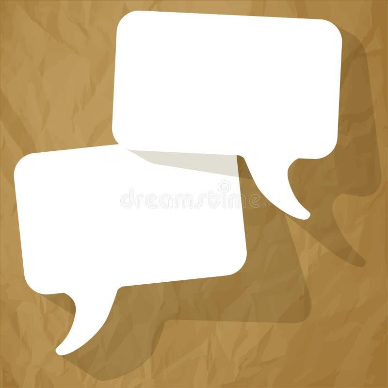 Gadki mowy bąbli bielu Bezpłatna przestrzeń na zmiętym papierowym brown tle ilustracji