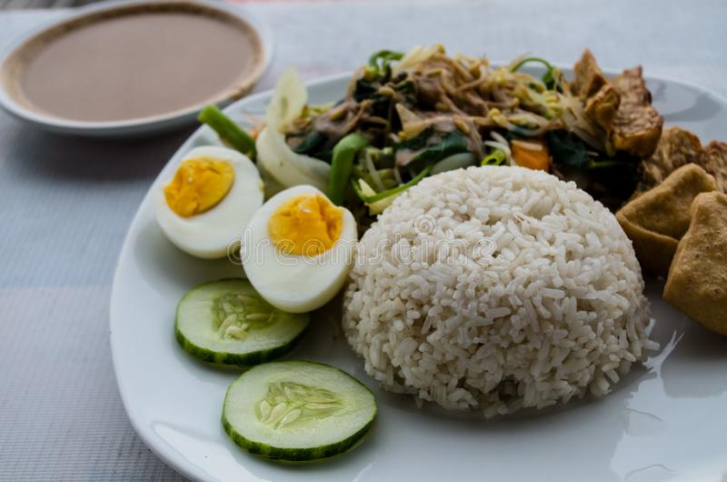 GADO GADO with rice, typical Indonesian salad with hard-boiled eggs, boiled potato, fried tofu and tempeh and peanut sauce royalty free stock photography