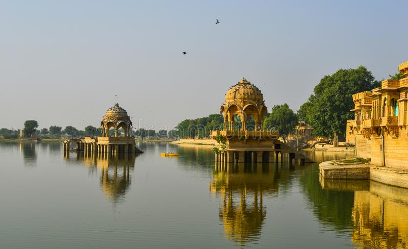 Gadsisar Lake in Jaisalmer, India stock photos