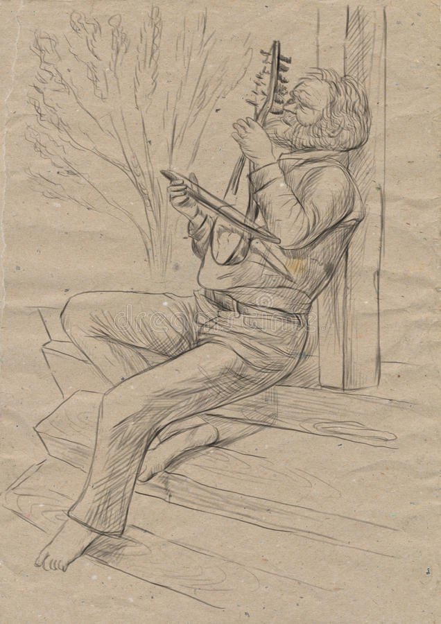 Gadulka gracz Ręka rysująca pełno - sklejona ilustracja, oryginał ilustracja wektor