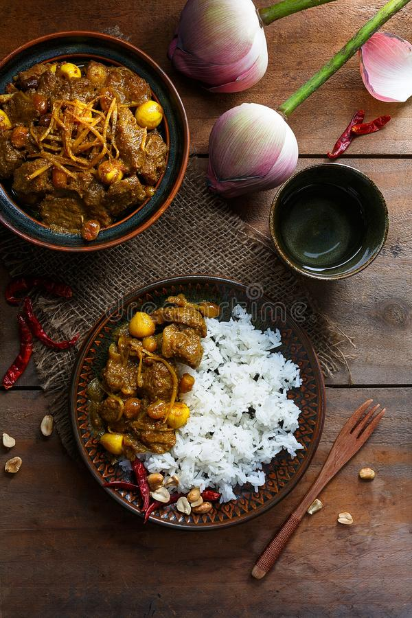 Gaeng Hang Lay Thai Curry. Thai Food. Gaeng Hang Lay Thai Curry with Rice. Thai Food stock images