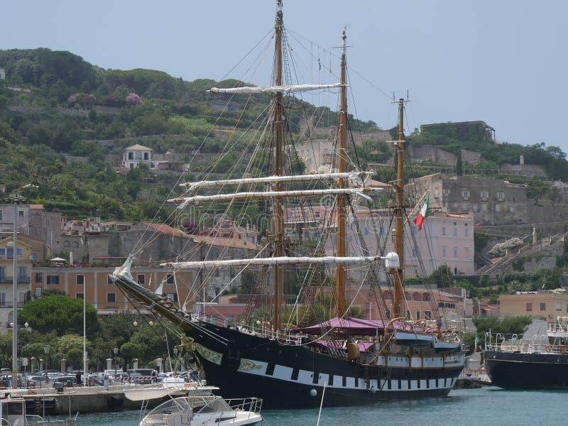 Gaeta - «Signora Del Vento «drewniany galeon zdjęcie royalty free
