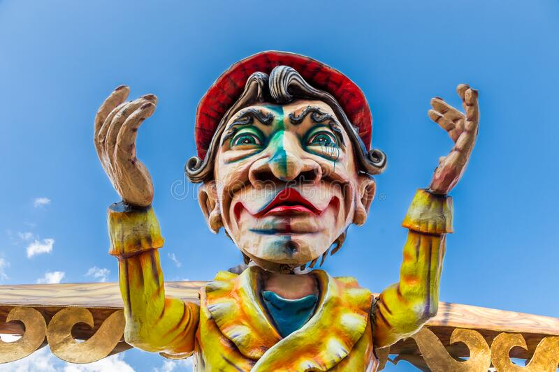 Allegorical float during the carnival parade along the streets of Gaeta stock photo