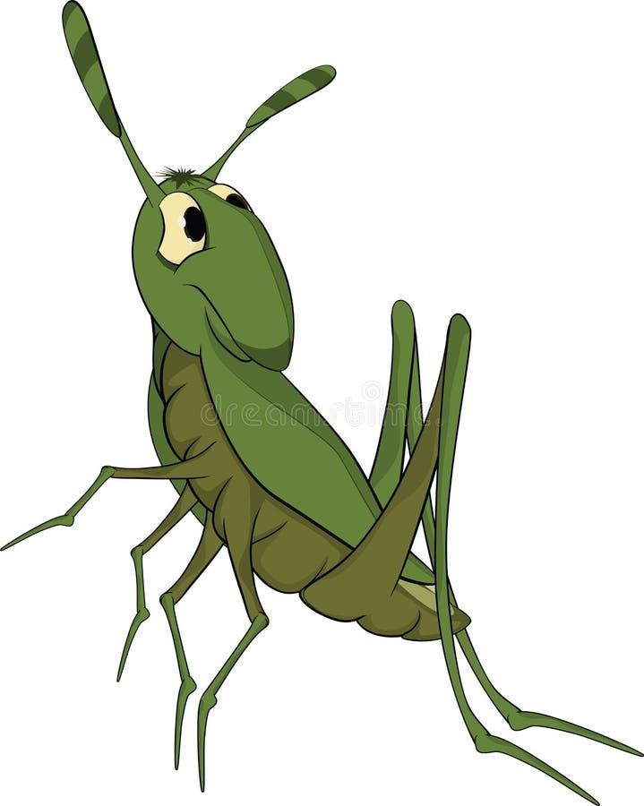 Gafanhoto verde. Desenhos animados ilustração stock