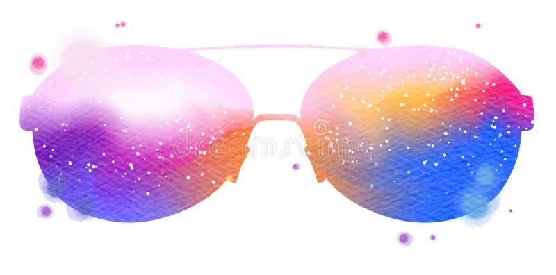 Gafas de sol coloridas de la acuarela aisladas en el fondo blanco ilustración del vector