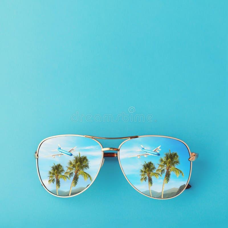 Gafas de sol con palmeras, un avión y las montañas reflejados en ellas Concepto en el tema de las vacaciones y del viaje con el e imagen de archivo libre de regalías