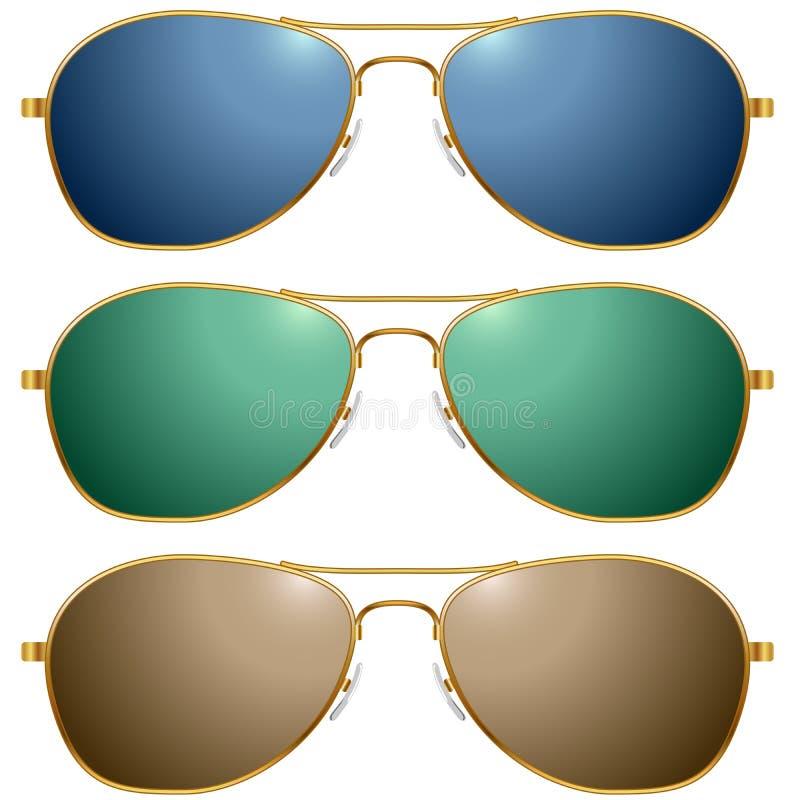 Gafas de sol del color fijadas stock de ilustración