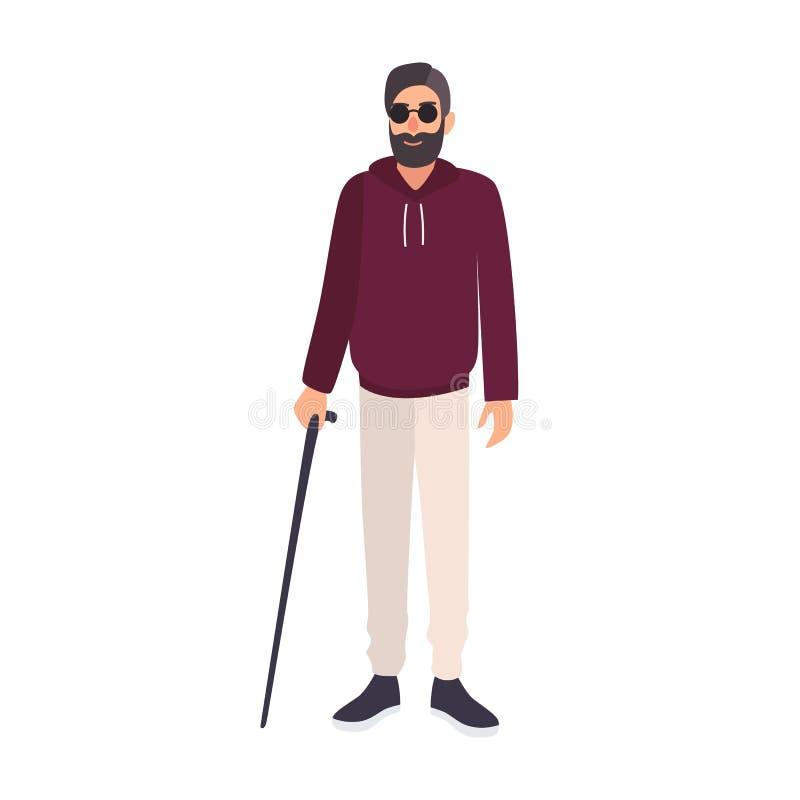 Gafas de sol del hombre ciego y bastón el sostenerse que llevan aislado en el fondo blanco Carácter masculino con la ceguera, vis libre illustration