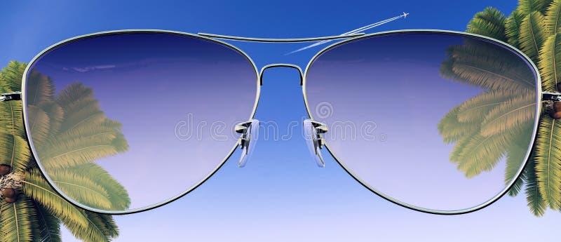 Gafas de sol del verano con la palmera tropical y el cielo azul libre illustration