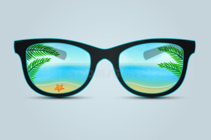 Gafas de sol del verano con la reflexión de la playa ilustración del vector