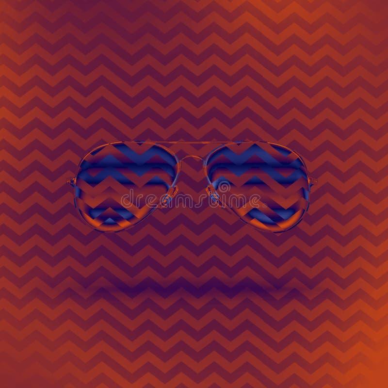 Gafas de sol en un fondo anaranjado púrpura brillante fotografía de archivo