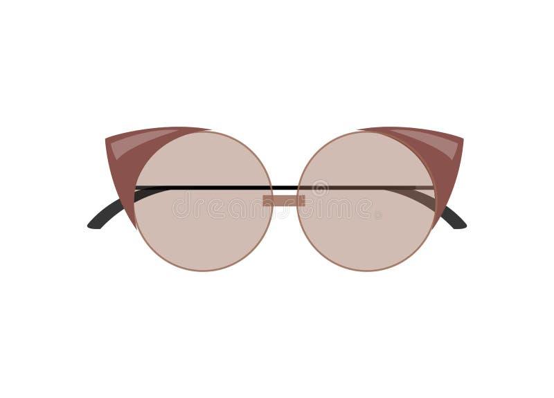 Gafas de sol femeninas elegantes del Gato-ojo de la forma redondeada ilustración del vector