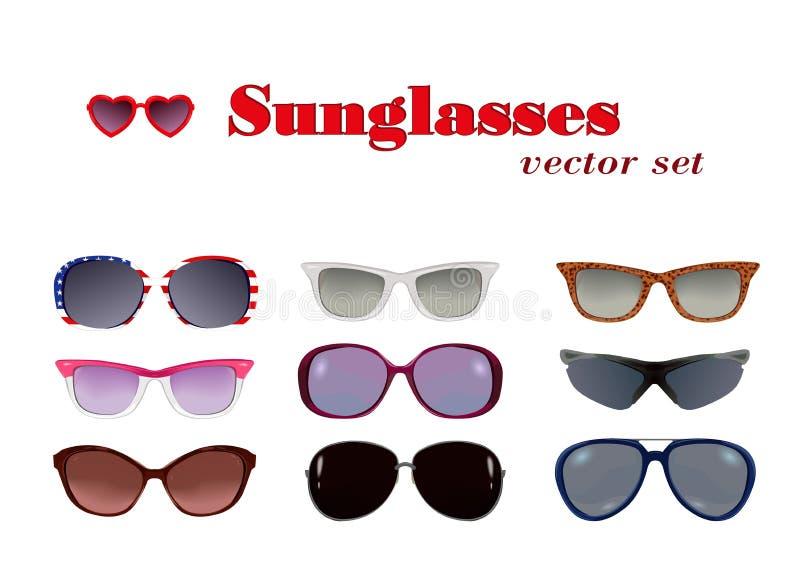 Gafas de sol fijadas en blanco stock de ilustración