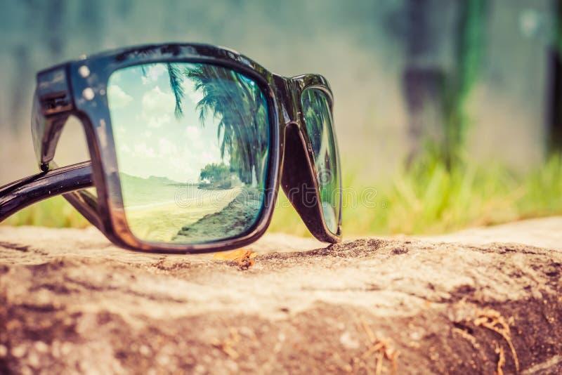 Gafas de sol de moda Gafas de sol con las lentes duplicadas Reflexión de la playa y de las palmeras tropicales en gafas de sol fotos de archivo