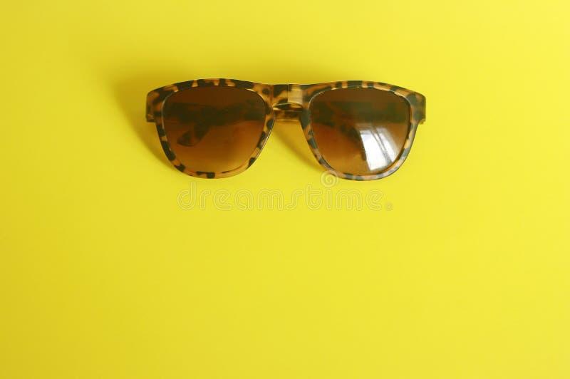 Gafas de sol de moda del estampado de animales en fondo amarillo imagen de archivo