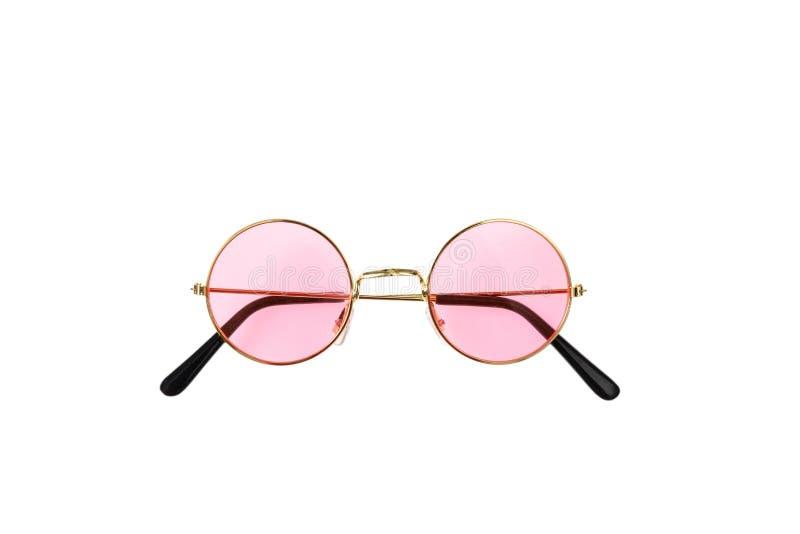 Gafas de sol de oro del marco con la lente rosada imagen de archivo