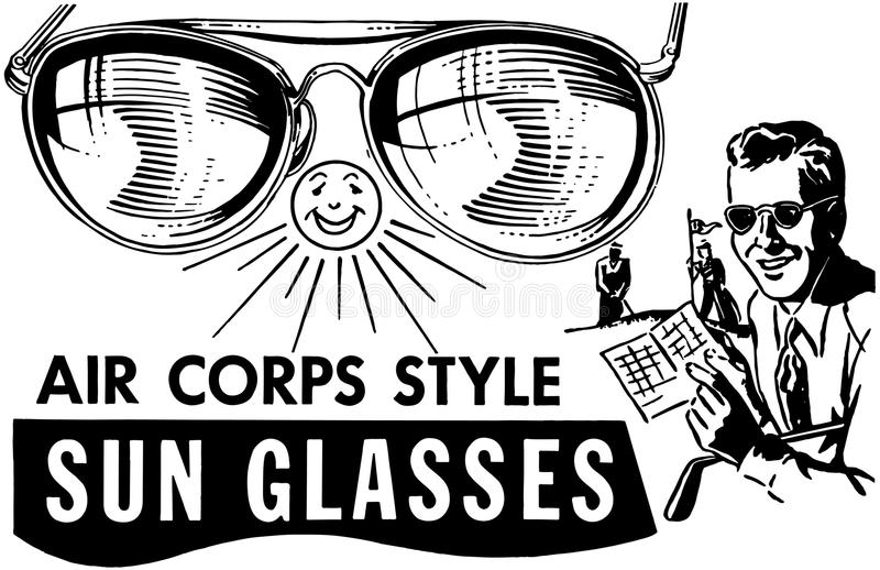 Gafas de sol para hombre del cuerpo de aire stock de ilustración