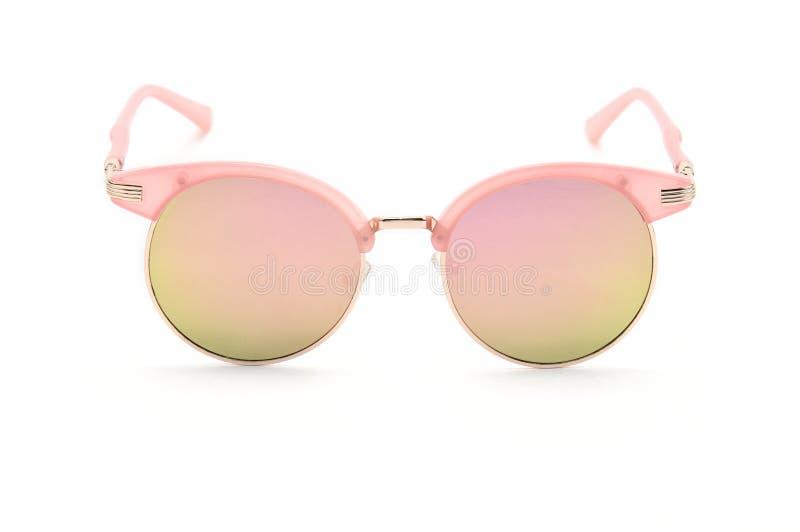 Gafas de sol para las mujeres con rosa y el bisel del oro fotos de archivo