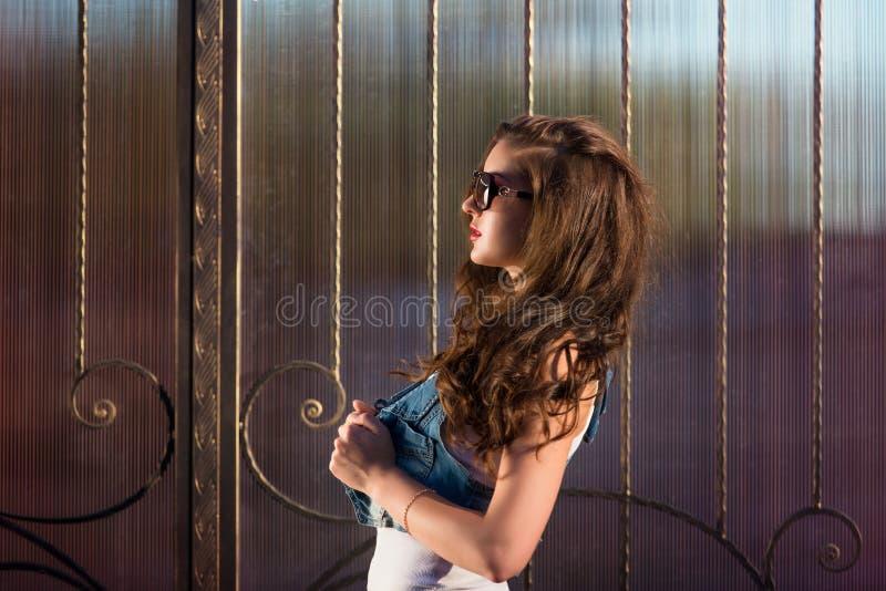 Gafas de sol que llevan de la muchacha morena atractiva de la moda retrato del perfil de una muchacha en gafas de sol fotografía de archivo