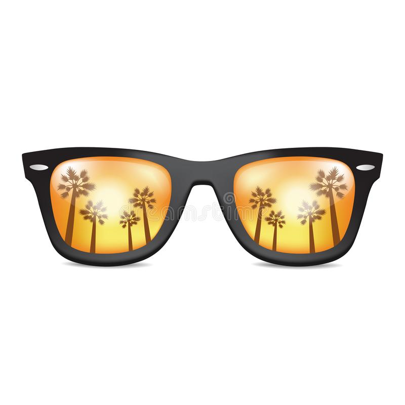 Gafas de sol realistas aisladas con la palma california Vector libre illustration