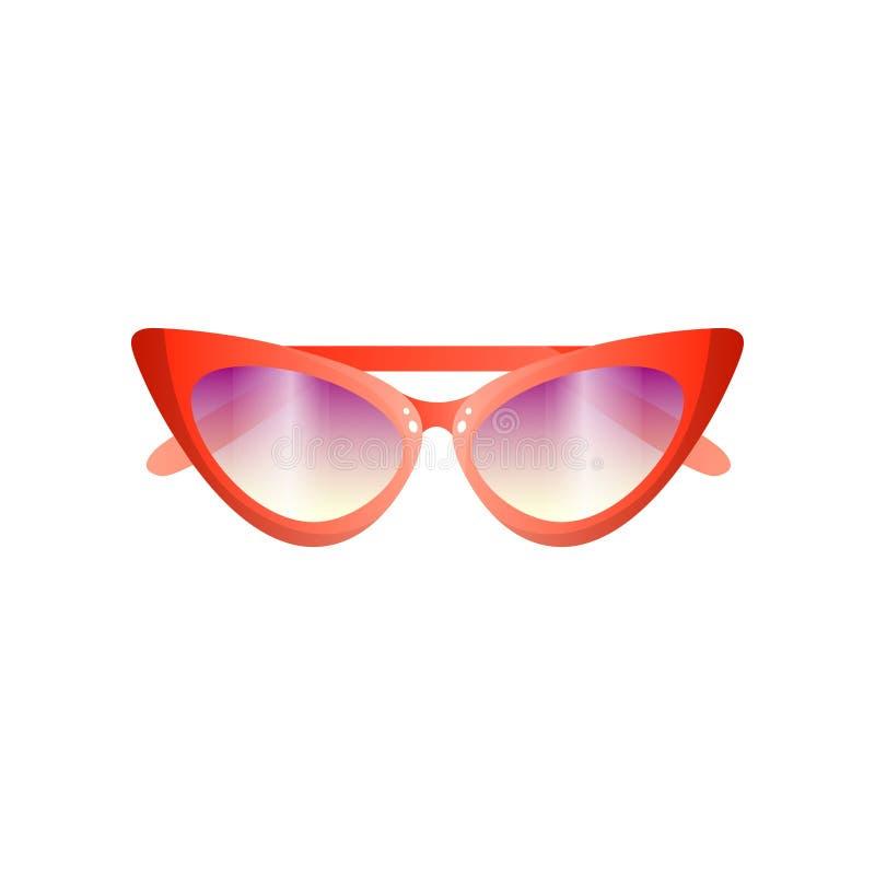 Gafas de sol retras de las mujeres rojas de la moda con la lente violeta ilustración del vector