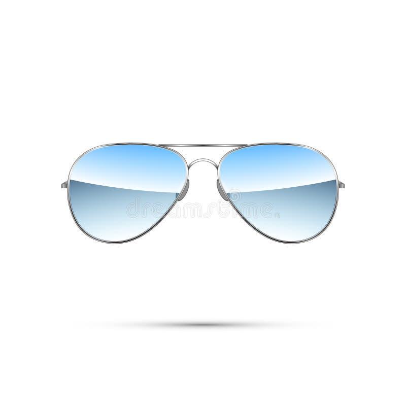 Gafas de sol tipo aviador aisladas en blanco Vector ilustración del vector