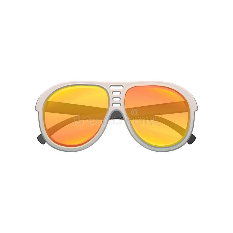 Gafas de sol tipo aviador con las lentes amarillo-naranja de la pendiente y el marco plástico Gafas elegantes para la estación de ilustración del vector