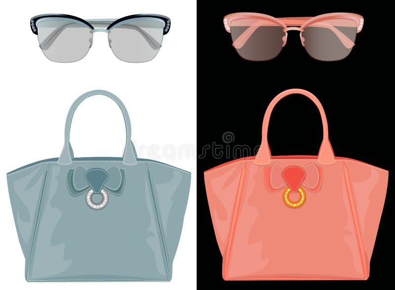 Gafas de sol y bolsos ilustración del vector