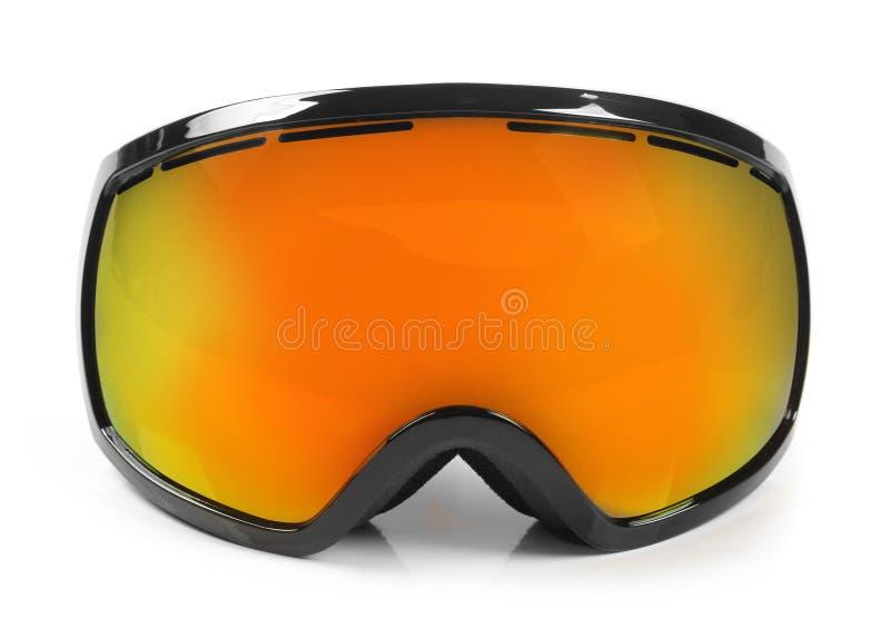 Gafas protectoras de la snowboard del esquí aisladas en blanco imágenes de archivo libres de regalías