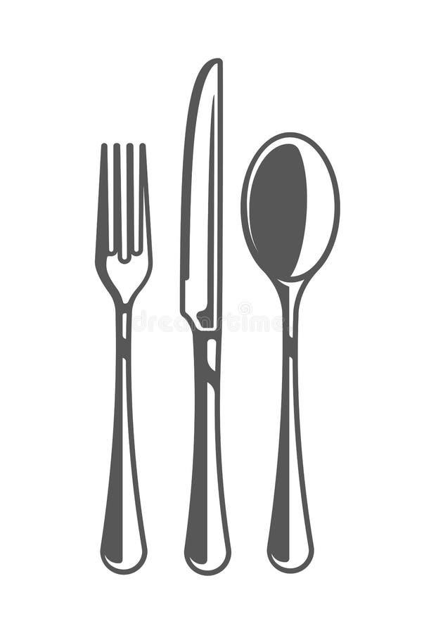 Gaffel, kniv och sked royaltyfri illustrationer
