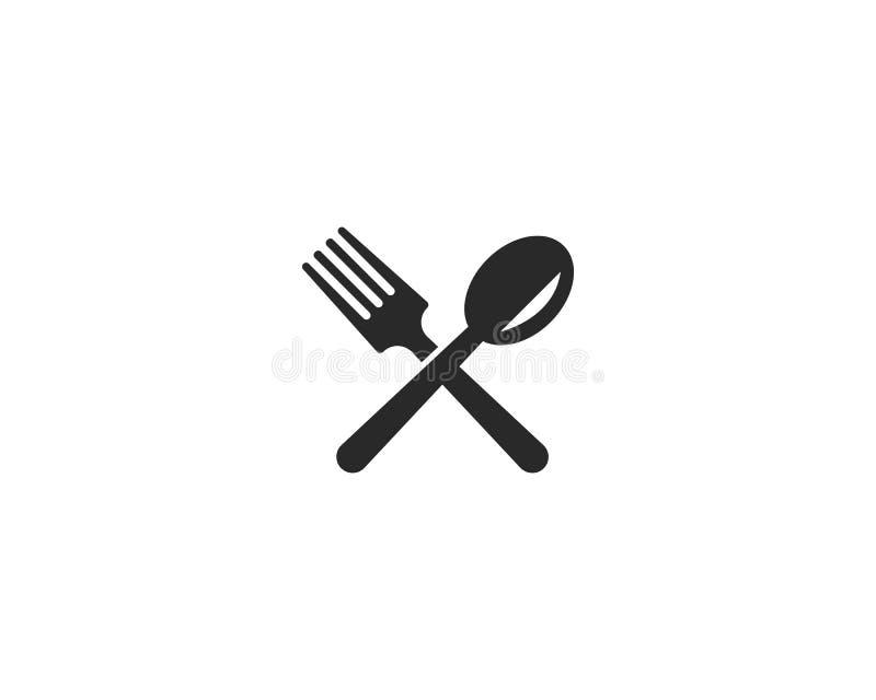 gaffel-, kniv- och skedsymbol royaltyfri illustrationer