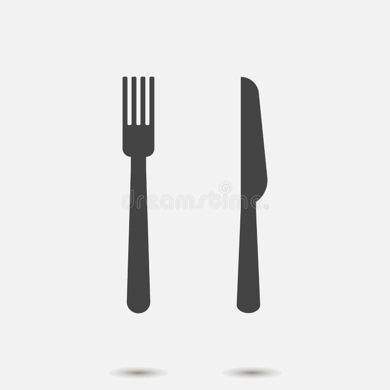Gaffel- och knivvektorsymbol på grå bakgrund Symbolet äter Lager som grupperas för lätt redigerande illustration vektor illustrationer