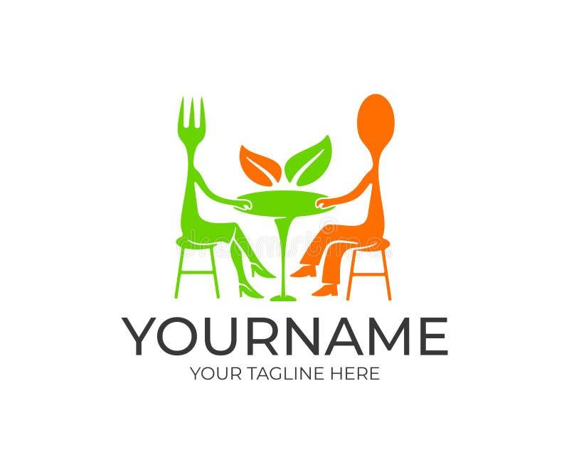 Gaffel- och skedtecknad filmtecken som sitter på tabellen i en restaurang, logodesign Mat och drink, snabbmat, kafé och eatery, v royaltyfri illustrationer