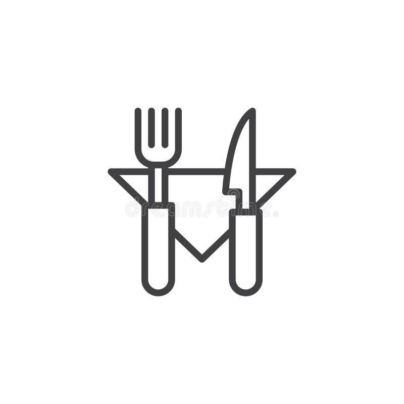 Gaffelkniv och servettöversiktssymbol royaltyfri illustrationer
