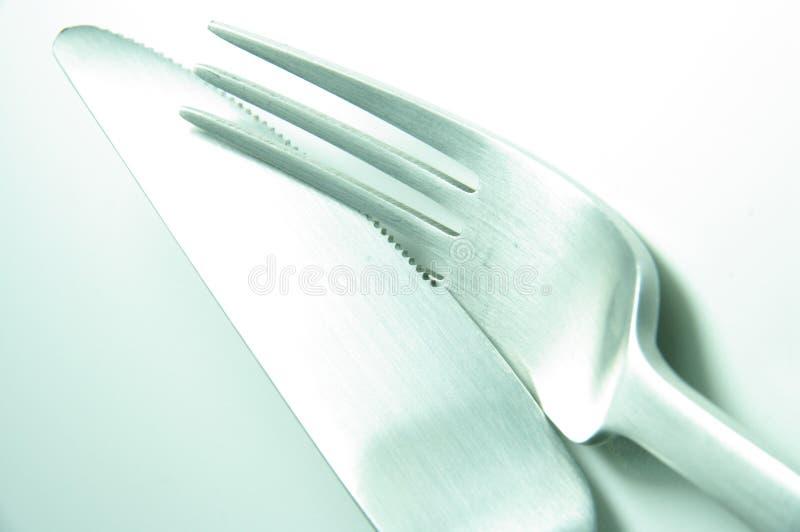 gaffelkniv tillsammans royaltyfri fotografi