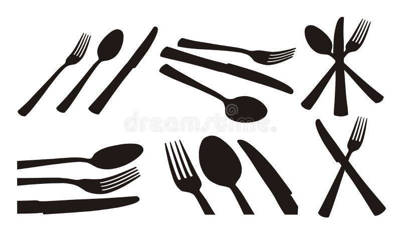 gaffelknivsked vektor illustrationer