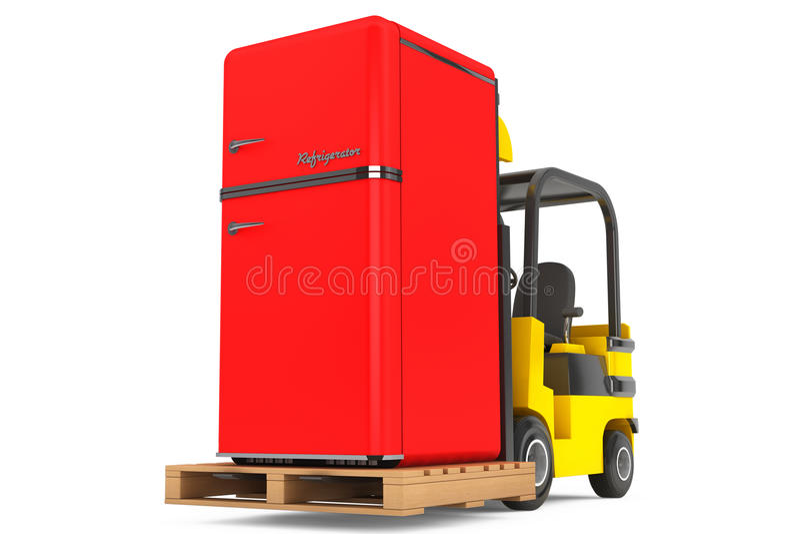 Gaffeltrucken flyttar tappningkylskåpet vektor illustrationer