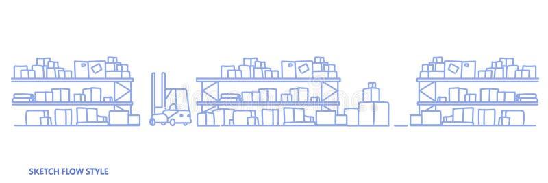 Gaffeltrucken i stor lagerinre tömmer inga hyllor för begrepp för hemsändning för folklagring logistiska med papp royaltyfri illustrationer