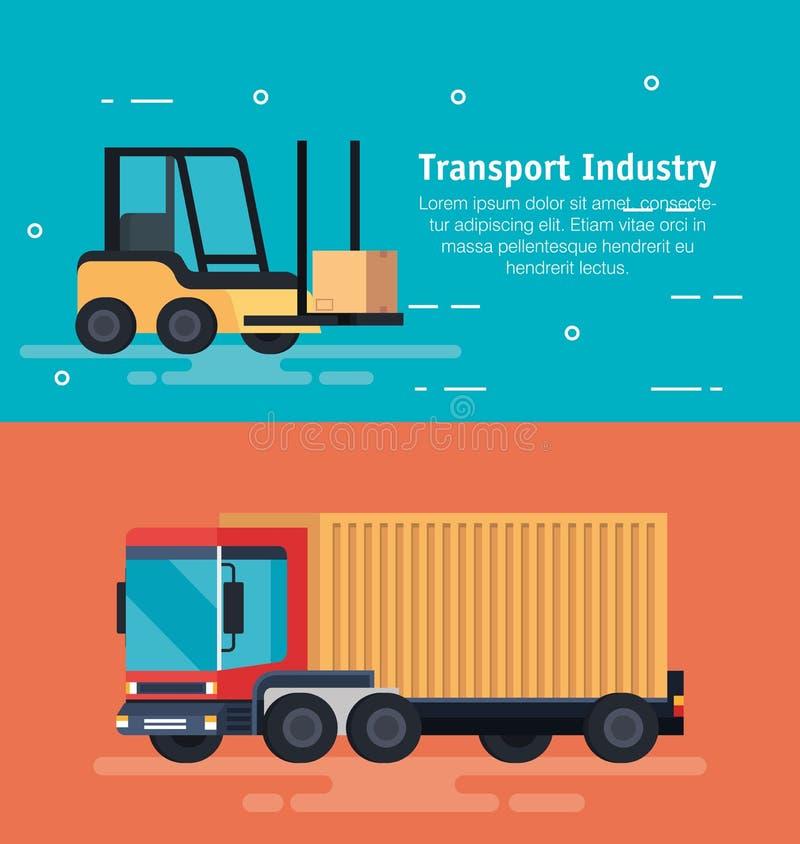 Gaffeltruckmedel med lastbilen royaltyfri illustrationer