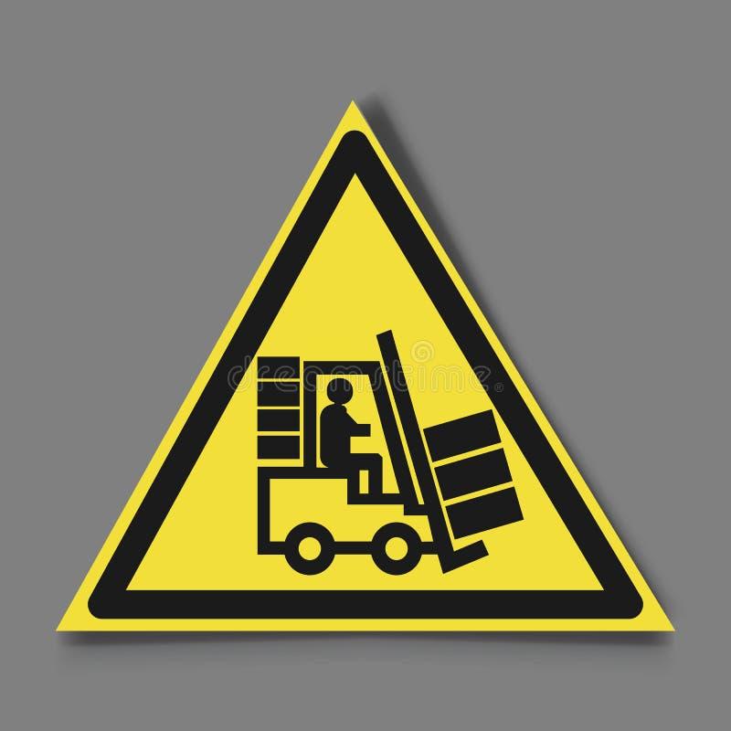 Gaffeltrucktecken Symbol av hotvarningen Faravarningssymbol Svart elevator-lastbil med konturn av ett manemblem in royaltyfri illustrationer