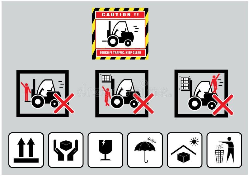 Gaffeltruckvarning (varning för uppehällefrikändtrafik) och papptecken stock illustrationer