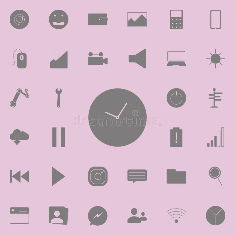 gafflar för design för broschyrcafeklocka bildar handsymbolsskedar Detaljerad uppsättning av minimalistic symboler Högvärdigt kva royaltyfri illustrationer