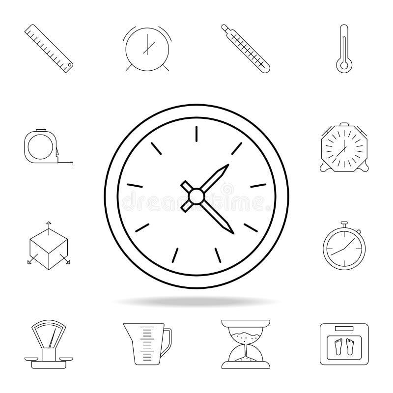 gafflar för design för broschyrcafeklocka bildar handsymbolsskedar Detaljerad uppsättning av symboler för mäta instrument Högvärd royaltyfri illustrationer