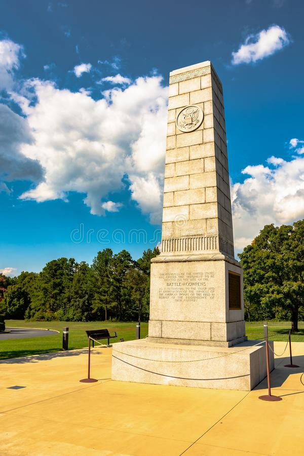 Battle of Cowpens monument. Gaffney, South Carolina, USA - September 18, 2017: Stone monument at Cowpens National Battlefield commemorating the famous Battle of stock photography