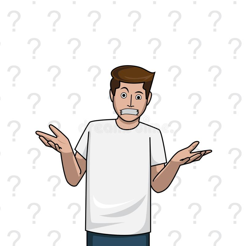 Gag man shrug, doubt on the question mark white background royalty free illustration